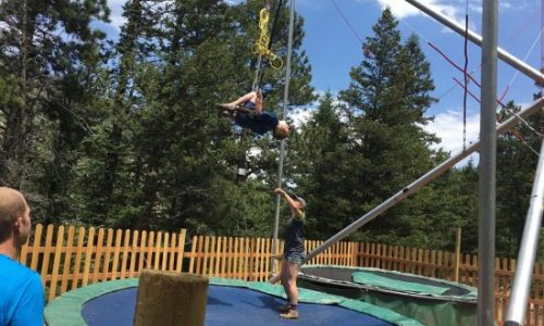 Someone on the Bungee Trampoline